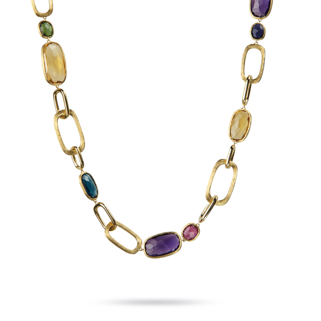18K Gold Multicolored Stone Necklace