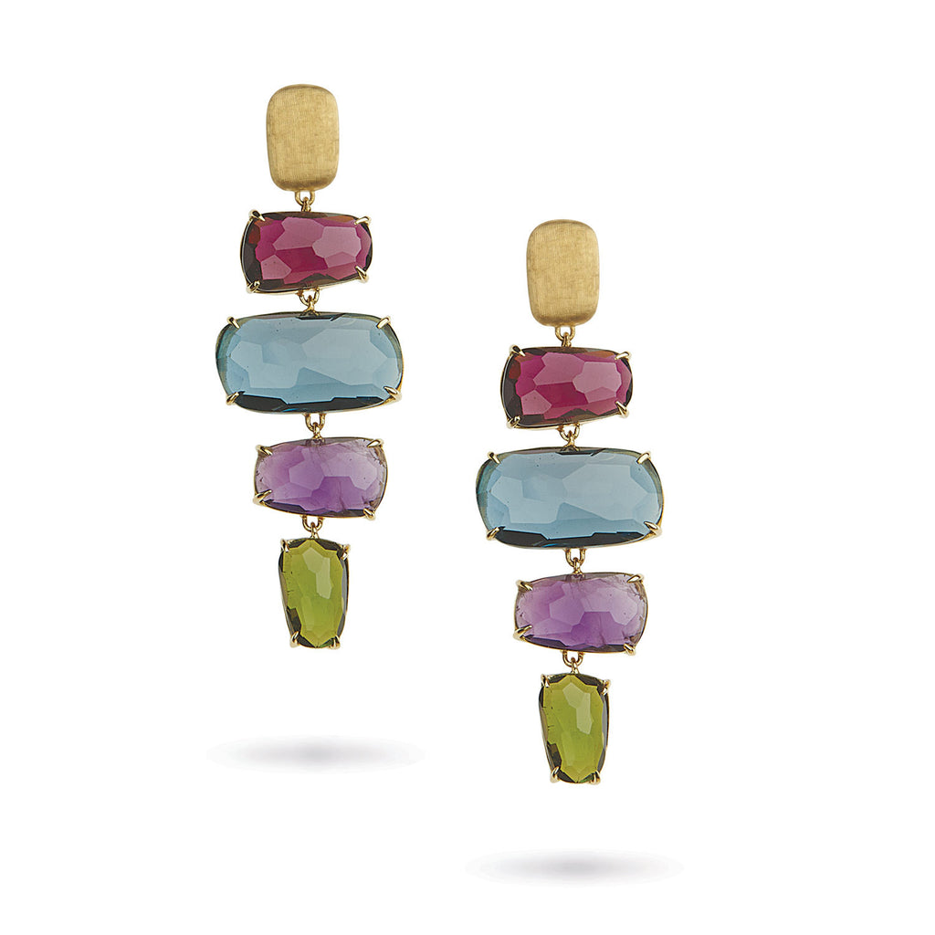 18K Gold Multicolored Stone Earrings