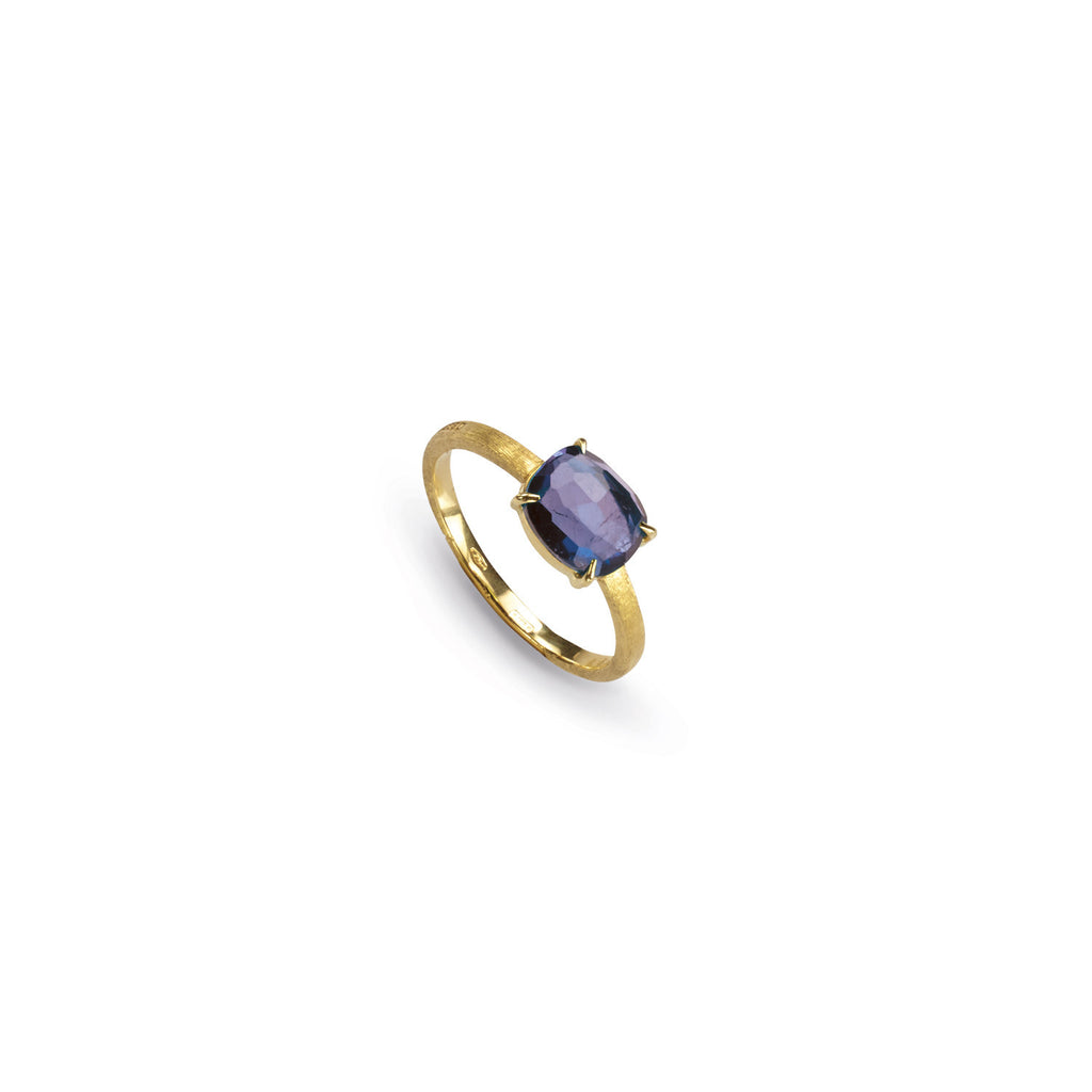 18K Gold Iolite Stackable Ring