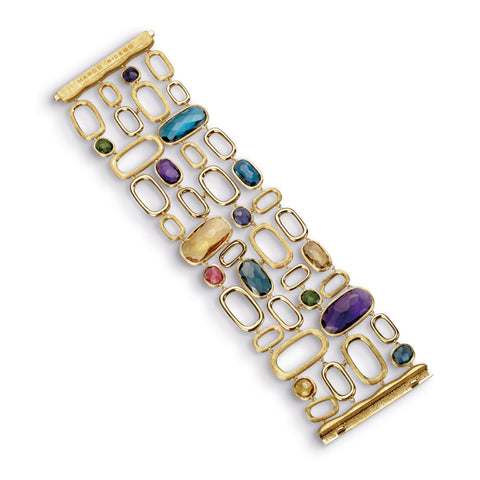 Murano Mixed Stone Four Row Link Bracelet