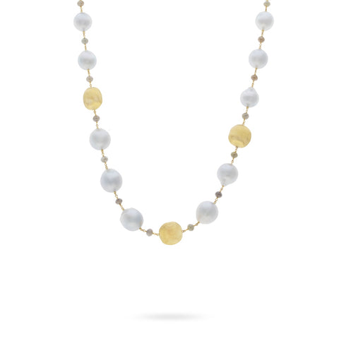 Marco Bicego® Unico Collection 18K Yellow Gold South Sea Pearl and Natural Diamond Necklace
