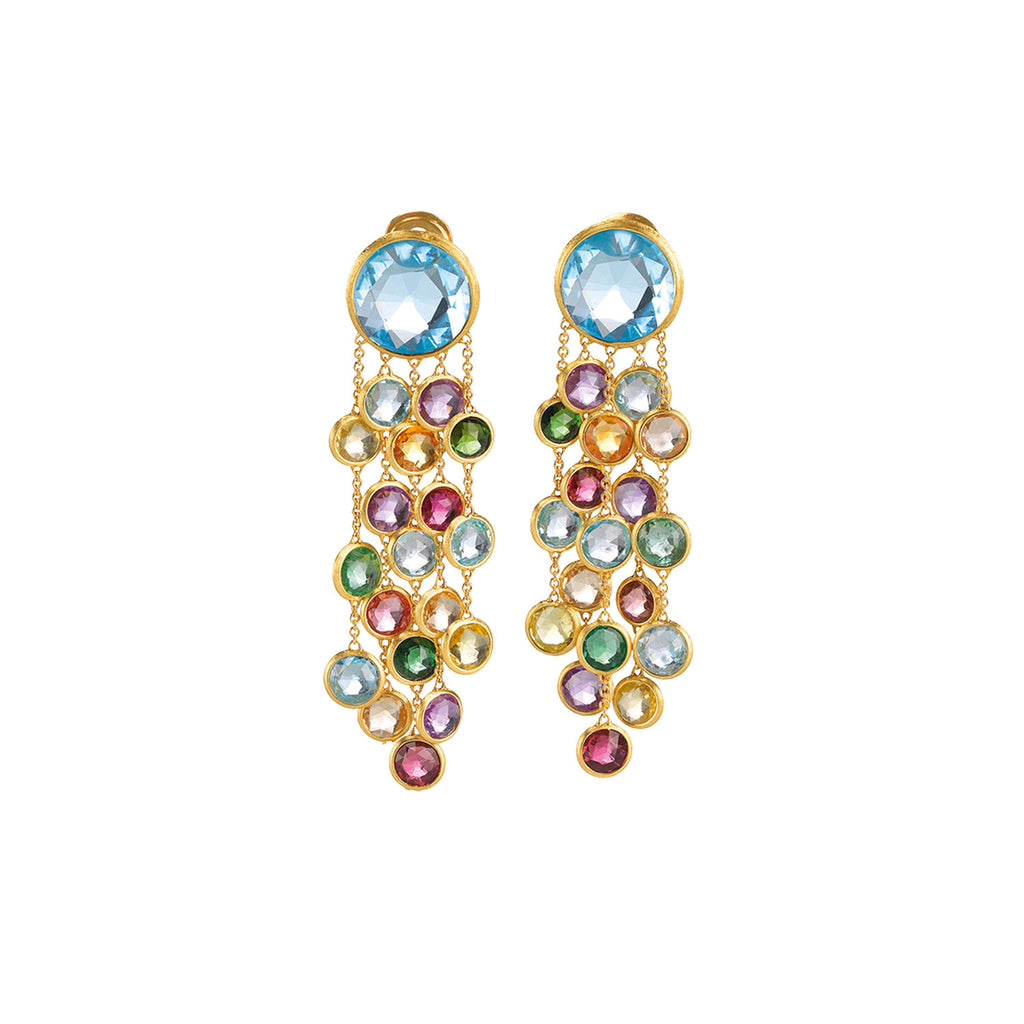 Jaipur Mixed Gemstones Five Strand Earrings