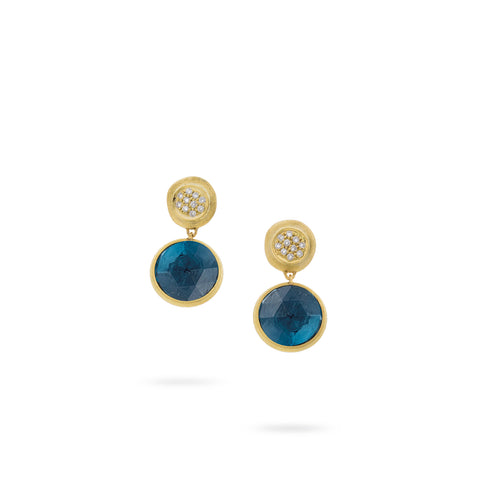 Marco Bicego® Jaipur Color Collection 18K Yellow Gold London Blue Topaz with Diamond Drop Earrings