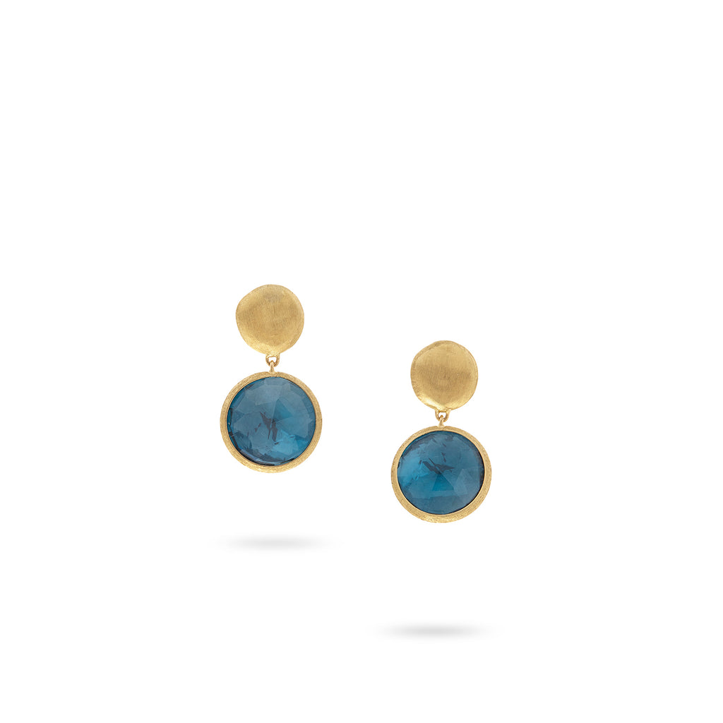 82819f1d45334 jaipur color COLLECTION. 18K Yellow Gold and London Blue Topaz Drop Earrings.  ITEM   OB1082-O TPL01 Y 02