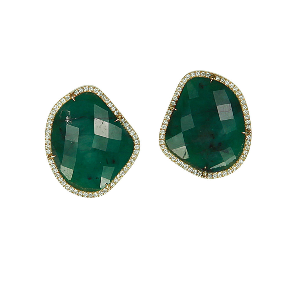 Unico Emerald & Diamond Stud Earrings