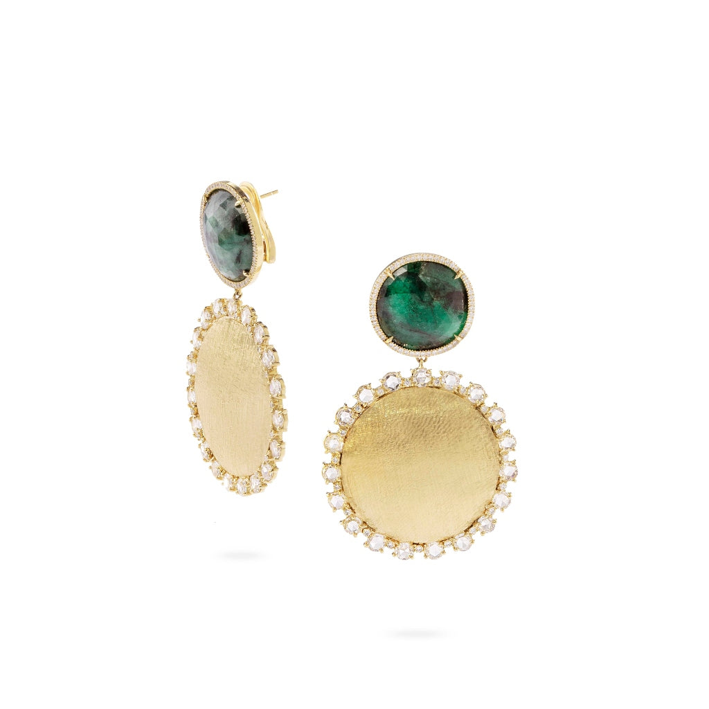 Marco Bicego® Unico Collection 18K Yellow Gold Emerald and Rose Cut Diamond Drop Earrings