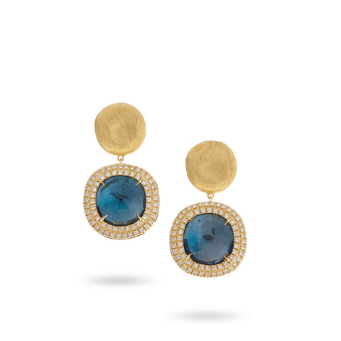 Marco Bicego® Jaipur Color Collection 18K Yellow Gold London Blue Topaz and Diamond Drop Earrings