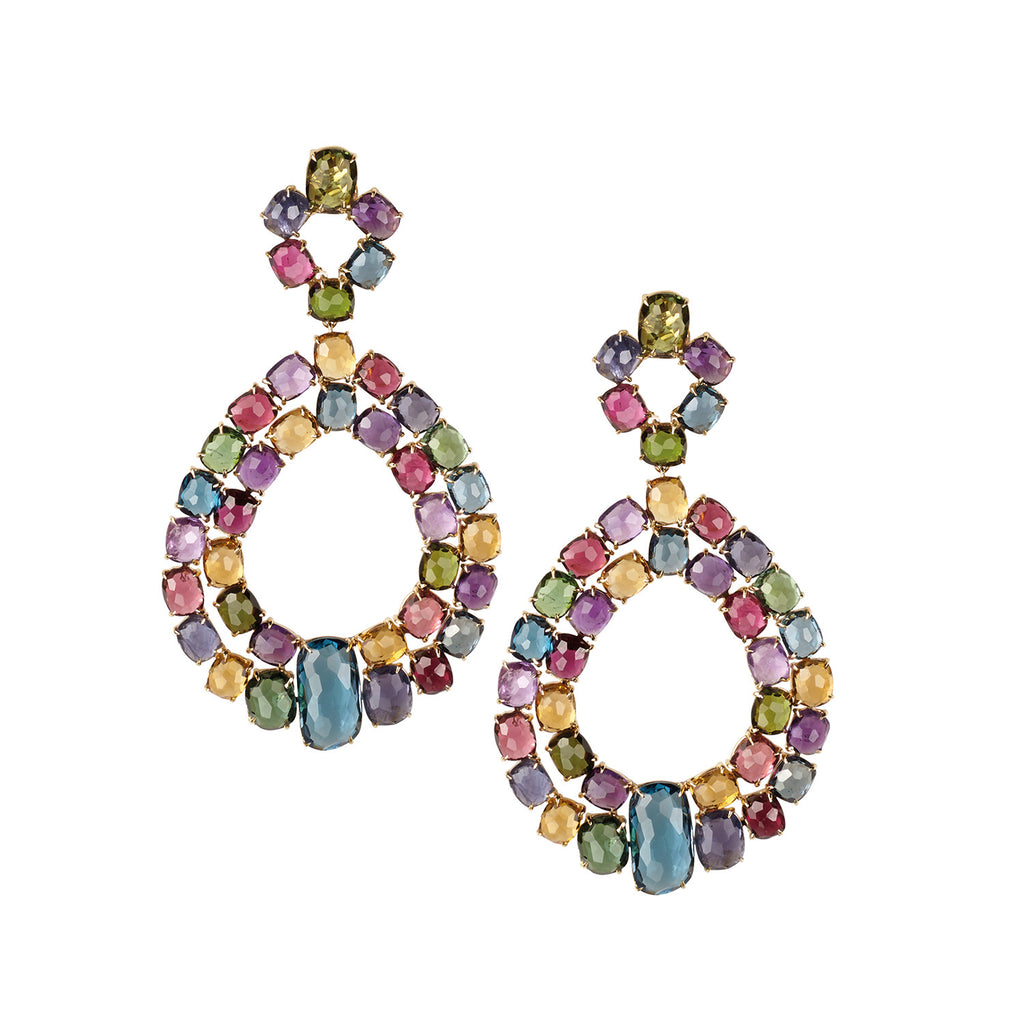 Murano Mixed Stone Large Double Chandelier Earrings