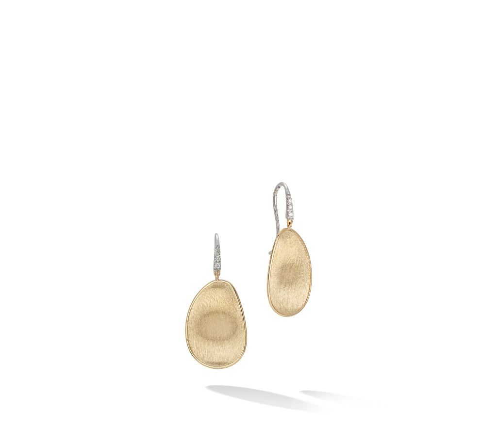 Marco Bicego® Lunaria Collection 18K Yellow Gold and Diamond Medium Drop Earrings
