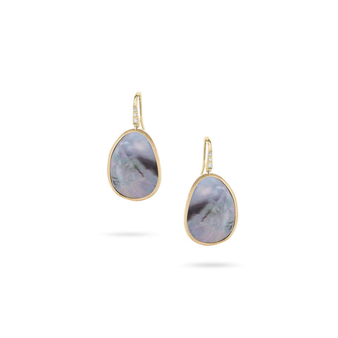 Lunaria Yellow Gold & Diamond with Black Mother of Pearl Drop Earrings
