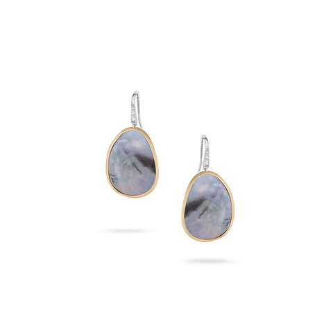 Lunaria Black Mother of Pearl & Diamond Drop Earrings