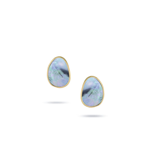 Marco Bicego® Lunaria Collection 18K Yellow Gold Black Mother of Pearl Stud Earrings