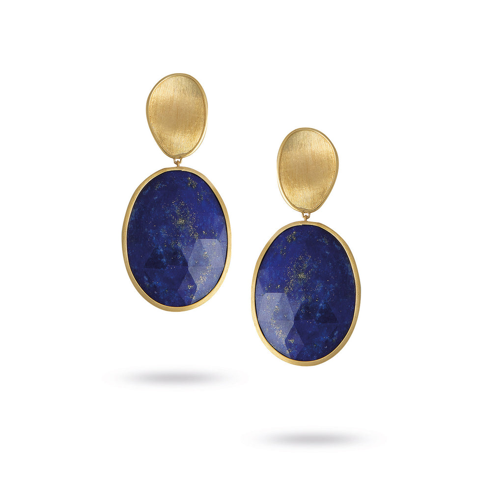 Lunaria Medium Gold & Lapis Earrings