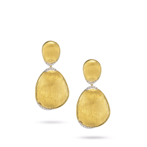 Lunaria Large Double Drop Earrings with Pave Diamonds