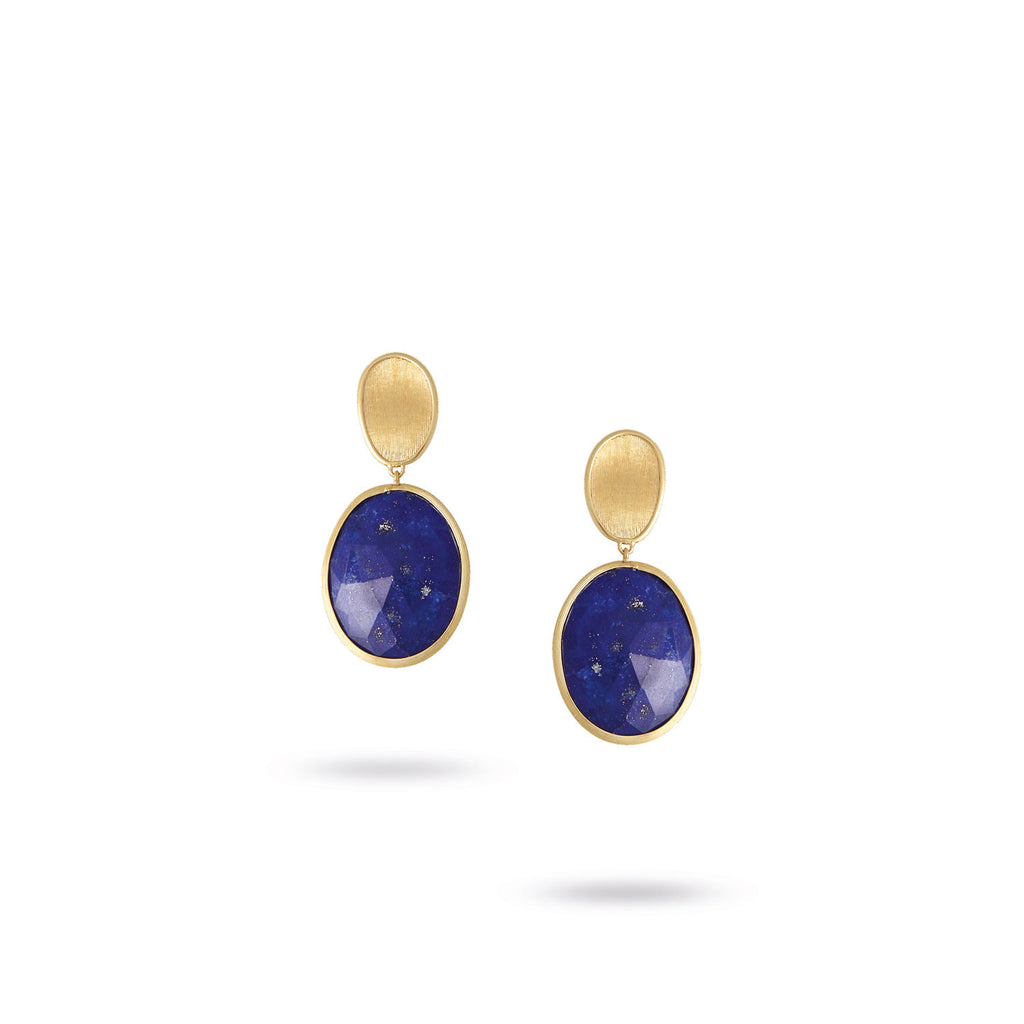 Lunaria Small Gold &  Lapis Earrings