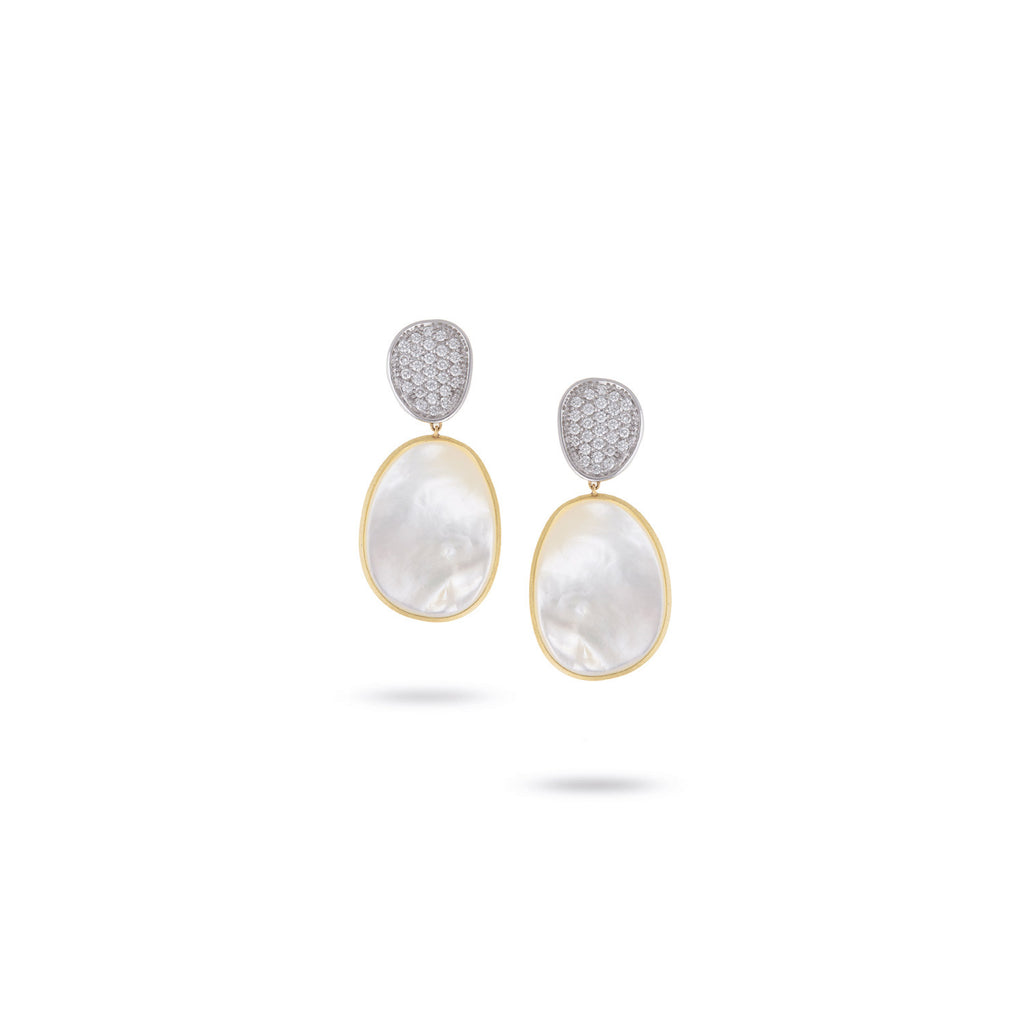 Unico Lunaria Yellow Gold & Diamond with Mother of Pearl Earrings