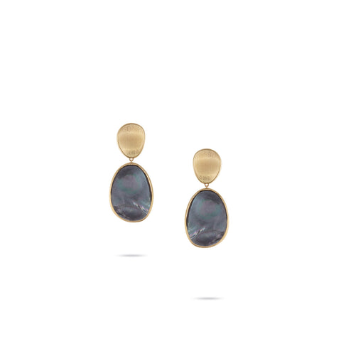 Lunaria Medium Gold & Black Mother of Pearl Earrings