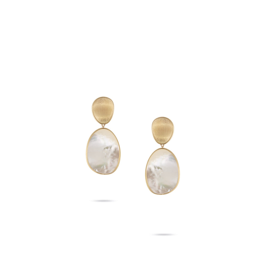Marco Bicego® Lunaria Collection 18K Yellow Gold White Mother of Pearl Medium Earrings