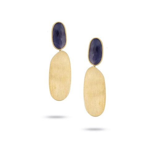 Marco Bicego® Unico Collection 18K Hand Engraved Unico Earrings with Blue Sapphires