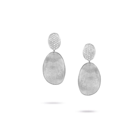 Marco Bicego® Lunaria Collection 18K White Gold and Diamond Medium Double Drop Earrings