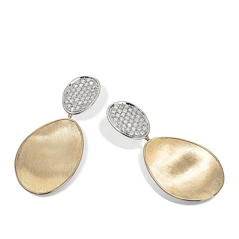 Marco Bicego® Lunaria Collection 18K Yellow Gold and Diamond Medium Double Drop Earrings