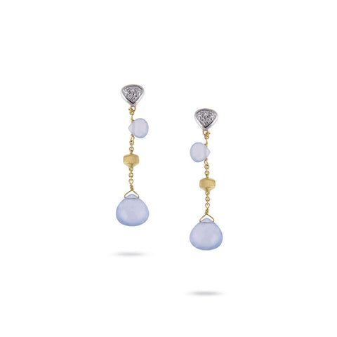 "NEW- Paradise Chalcedony & Diamond 1.45"" Drop Earrings"
