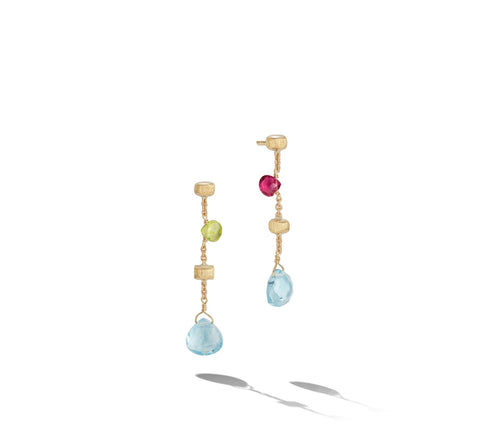 "Marco Bicego® Paradise Collection 18K Yellow Gold Mixed Gemstone 1.45"" Drop Earrings"