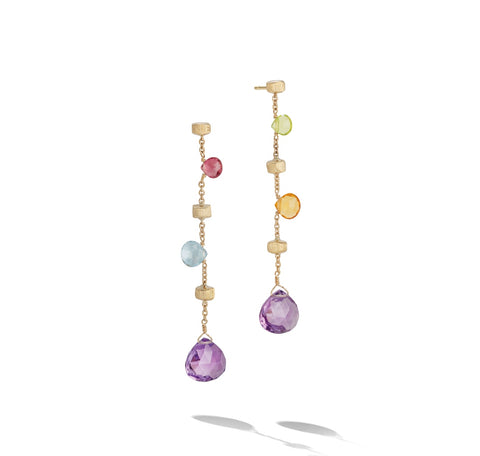 "Marco Bicego® Paradise Collection 18k Yellow Gold Mixed Gemstone 2.25"" Drop Earrings"