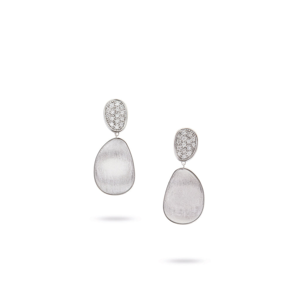 Lunaria White Gold Diamond Pave Small Double Drop Earrings Lunaria