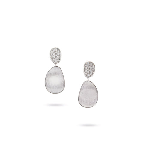 NEW - Lunaria White Gold & Diamond Pave Small Double Drop Earrings