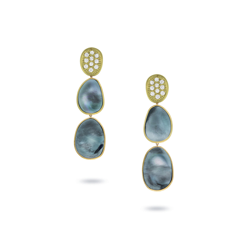 Marco Bicego Lunaria Drop Earrings with Black Mother-of-Pearl & Diamonds cJz5OA