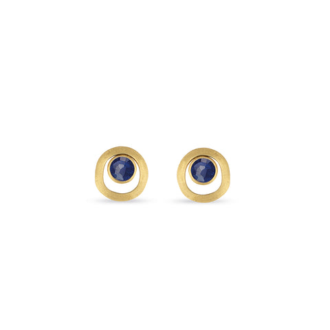 Jaipur Lapis Gold Link Stud Earrings