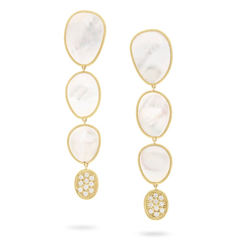 Lunaria White Mother of Pearl with Diamond Pave Large Drop Earrings