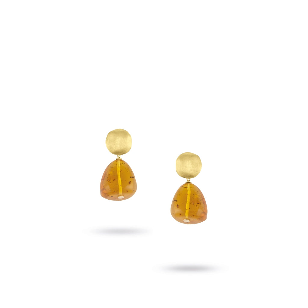 Marco Bicego® Unico Collection 18K Yellow Gold and Amber Drop Earrings