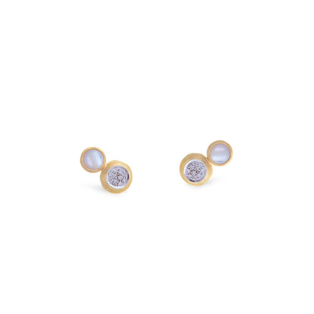 Marco Bicego® Jaipur Color Collection 18K Yellow Gold Two Stone Stud with Diamond and white Mother of Pearl