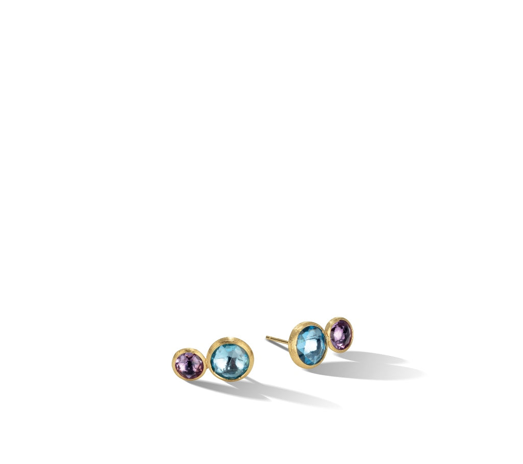 Marco Bicego® Jaipur Color Collection 18K Yellow Gold Blue Topaz and Amethyst Stud
