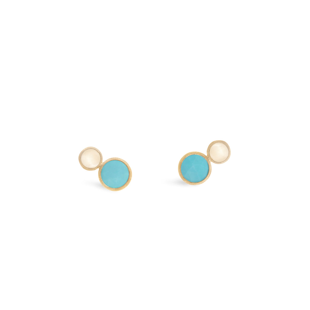 Marco Bicego® Jaipur Color Collection 18K Yellow Gold Two Stone Stud with Turquoise and White Mother of Pearl