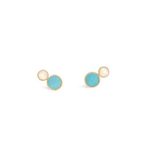 Jaipur 18K Yellow Gold Two Stone Stud with Turquoise and White Mother of Pearl