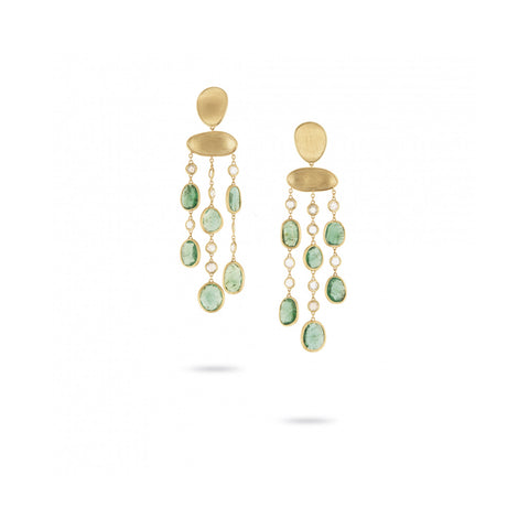 Unico Lunaria Yellow Gold & Diamond with Emerald Earrings