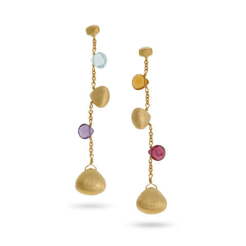 NEW- Paradise Mixed Stone and Gold Teardrop Earrings