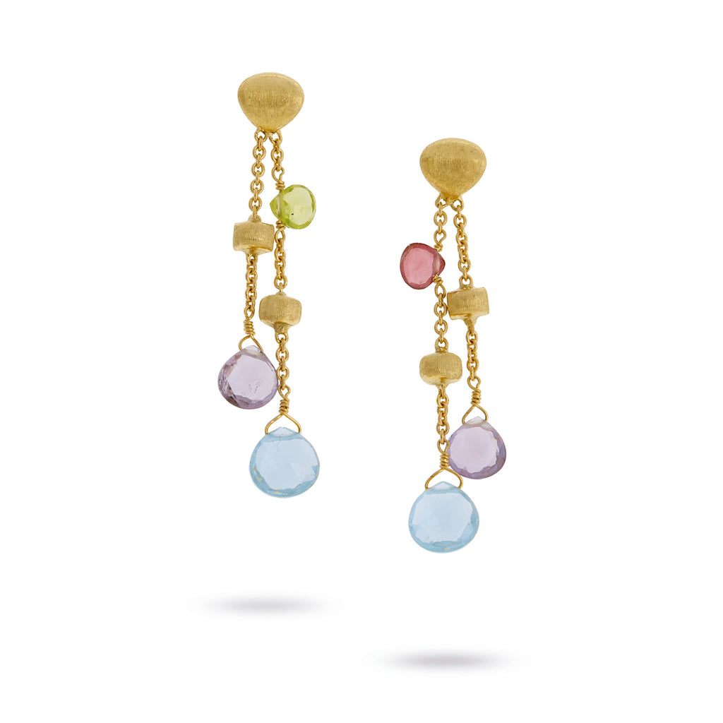 Marco Bicego® Paradise Collection 18K Yellow Gold Mixed Gemstone Double Drop Earrings
