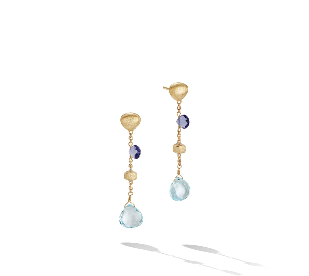 Marco Bicego® Paradise Collection 18K Yellow Gold Iolite and Blue Topaz Short Drop Earrings
