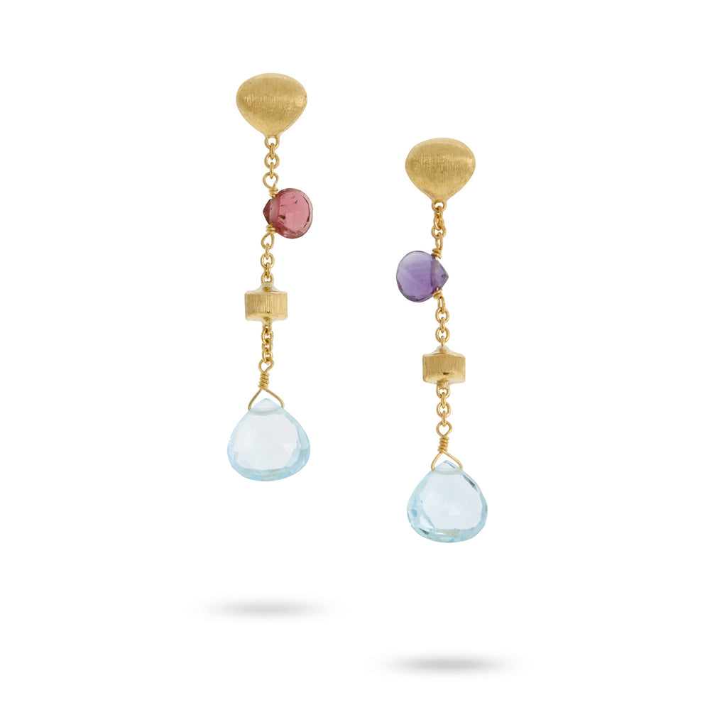 Paradise Mixed Stone & Gold Tear Drop Short Drop Earrings