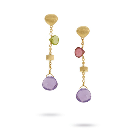 Marco Bicego® Paradise Collection 18K Yellow Gold Mixed Gemstone Short Drop Earrings with Amethyst