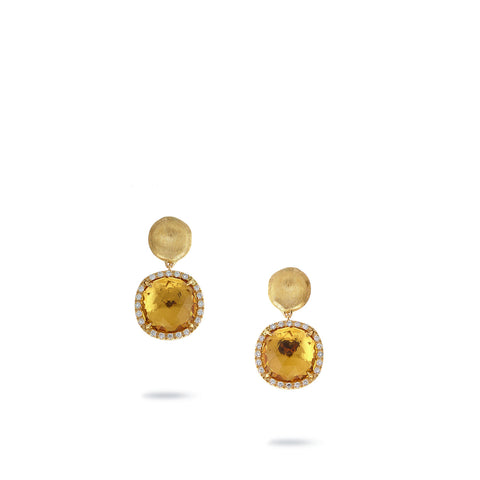Jaipur Diamond Pave Set Citrine Drop Earrings