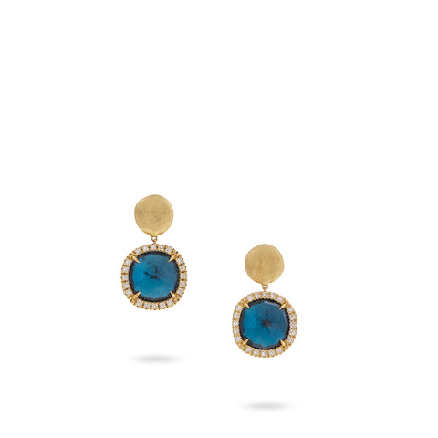 Marco Bicego® Jaipur Color Collection 18K Yellow Gold London Blue Topaz and Diamond Small Drop Earrings