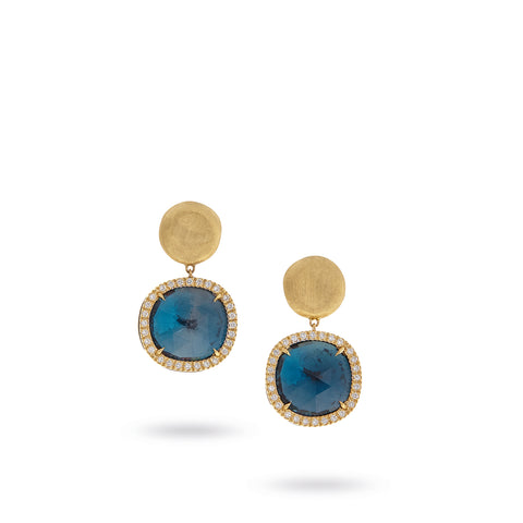 Marco Bicego® Jaipur Color Collection 18K Yellow Gold London Blue Topaz and Diamond Medium Drop Earrings