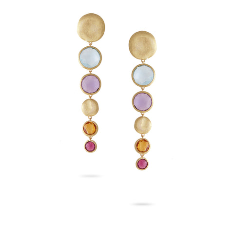 Jaipur Mixed Stone Graduated Drop Earrings with Pink Tourmaline