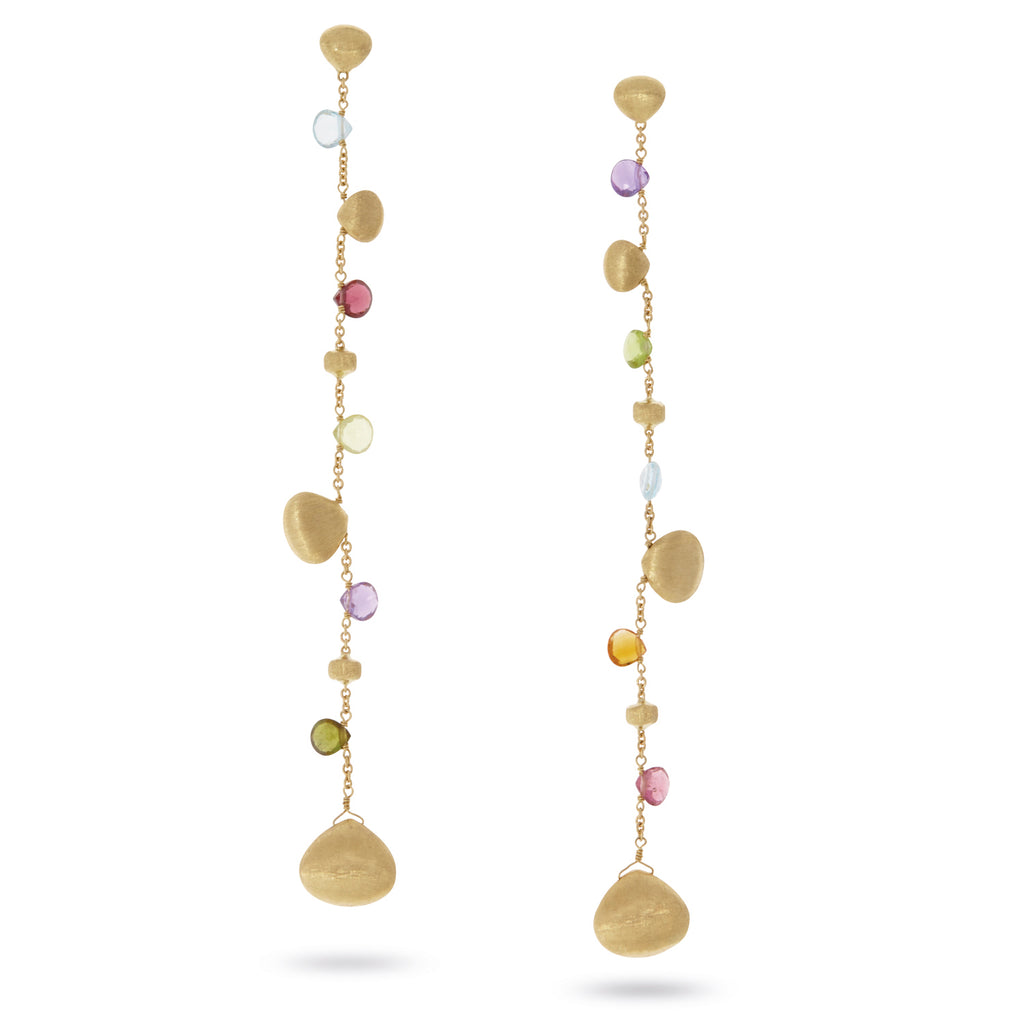 Paradise Mixed Stone Single Strand Long Duster Earrings with Gold Tear Drops