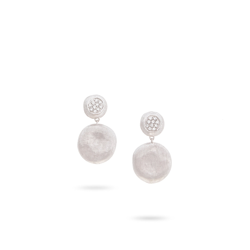 Marco Bicego® Jaipur Collection 18K White Gold and Diamond Medium Drop Earrings